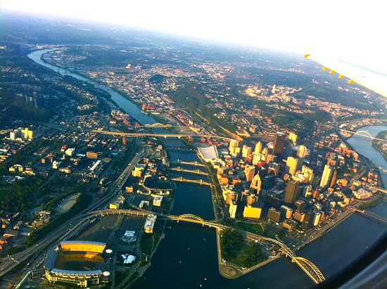 overhead photo of pittsburgh downtown and bridges