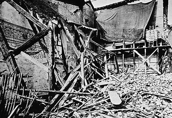 Photo of the refectory where The Last Supper is after a bomb strike